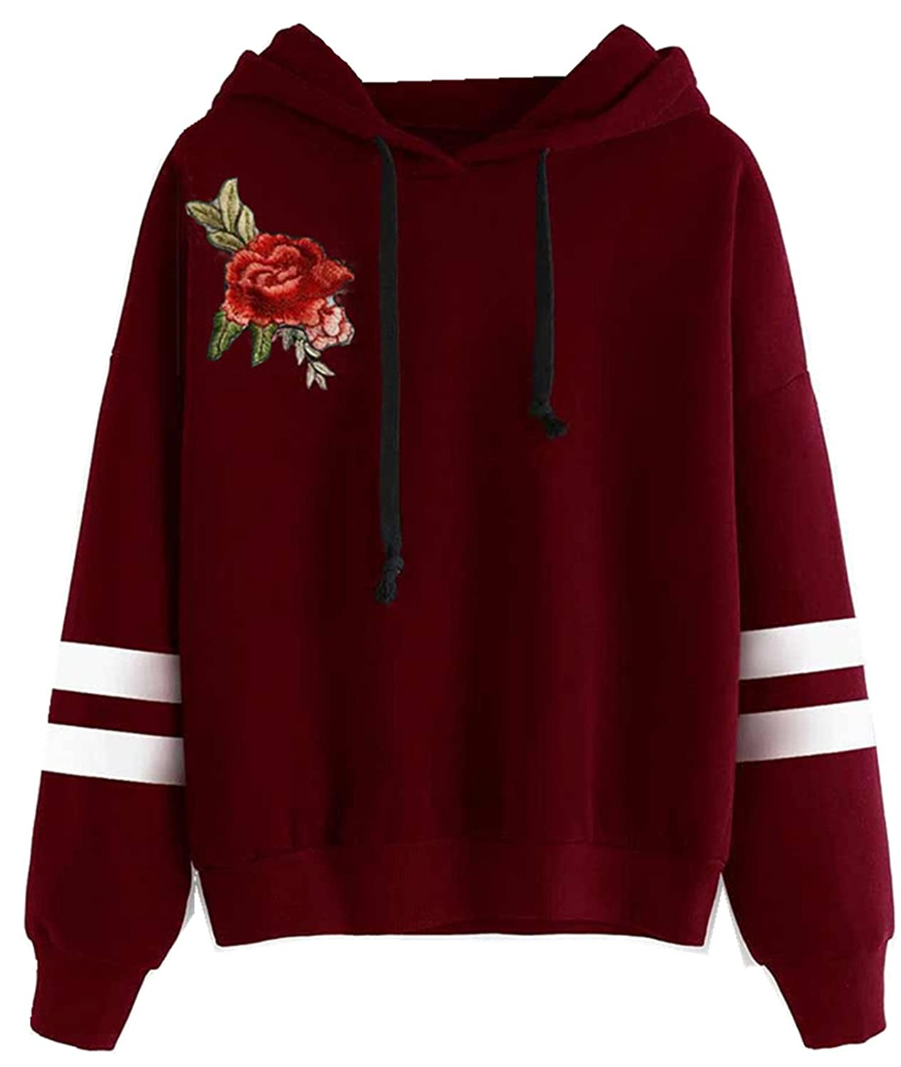 Arctic Cubic Long Sleeve Hoodie Hooded Hood Rose Flower Embroidered Varsity Striped Stripe Sweatshirt T-Shirt Top at Amazon Womens Clothing store: