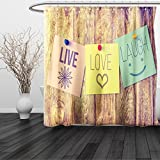 HAIXIA Shower Curtain Live Laugh Love Inspirational Wisdom Post-It Perks on Wooden Rustic Background Image Multicolor