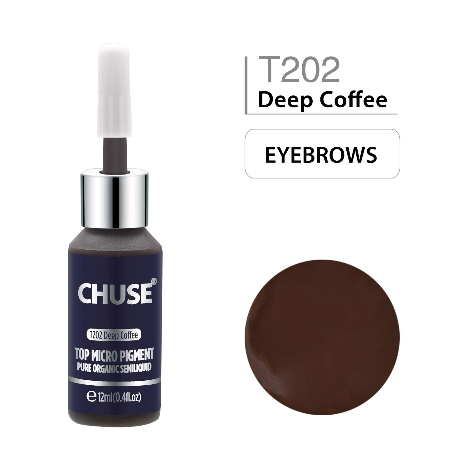 CHUSE T202 Microblading Micro Pigment Permanent Makeup Tattoo Ink Cosmetic Color Deep Coffee Passed SGS,DermaTest 12ml (0.4fl.oz)