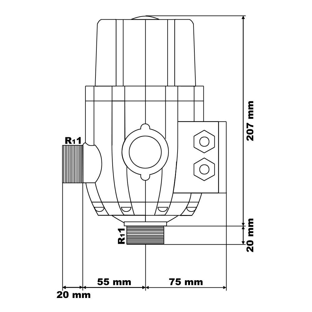 Druckschalter mit Kabel SKD-2D 230V 1-phasig Pumpensteuerung Druckw/ächter f/ür Hauswasserwerk Brunnen