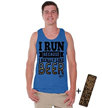 b3713a5e94955a Awkwardstyles Men s I Run Because I Really Like Beer Tank Top + Bookmark S  Blue
