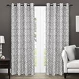 Exclusive Home Curtains Trike Geometric Thermal Grommet Top Window Curtain Panel Pair, Black Pearl, 54x84