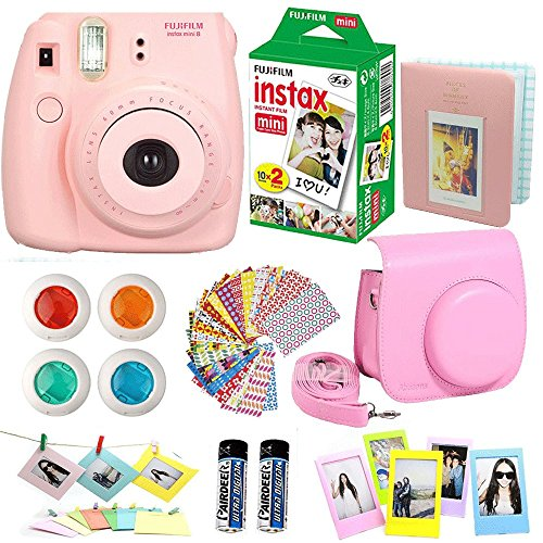 FujiFilm-Instax-Mini-8-Instant-Film-Camera-Pink-Instax-Mini-Film-Twin-Pack-20-Sheets-Pink-PU-leather-Case-Frames-Photo-Album-4-Color-Filters-Selfie-Mirro-And-More-Top-Accessories-Bundle
