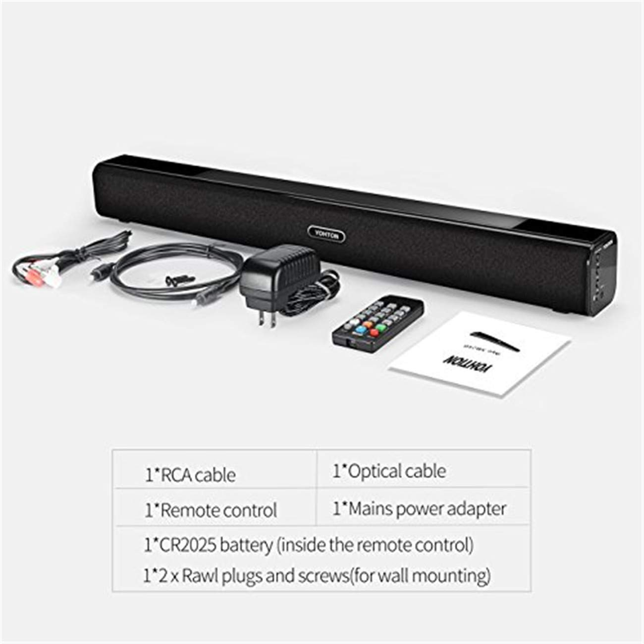 YOHTON Bluetooth Soundbar Sound Bar 24 inch TV 2.0 Channel Wired Wireless Soundbar Home Theater 20W TV Speakers Touch Remote Control Dual Connection Methods Optical Cable Wall Mountable by YOHTON