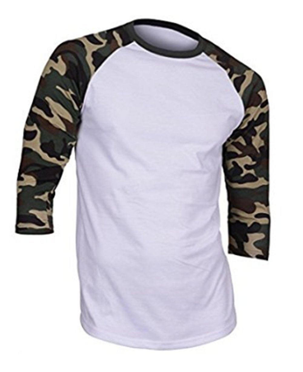 DREAM USA Men's Casual 3/4 Sleeve Baseball Tshirt Raglan Jersey Shirt R. Black & Light Green Camo Medium