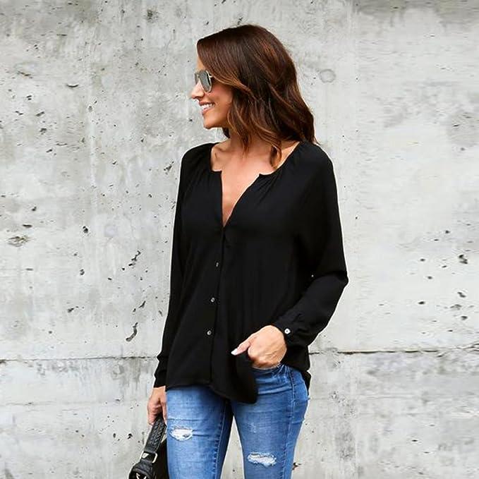 Camisa de mujer Lonshell - Blusa suelta de manga larga para mujer, blusa casual de gasa: Amazon.es: Deportes y aire libre