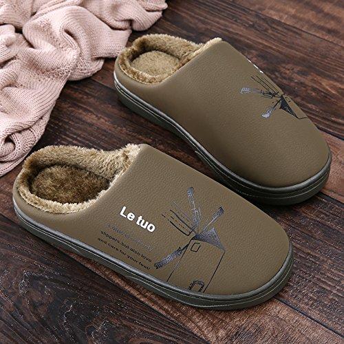 Y-Hui invierno zapatillas de algodón, amantes femeninos que viven en la casa, cubierta de piso impermeable, fondo blando Anti-Skid zapatillas hombres Army green