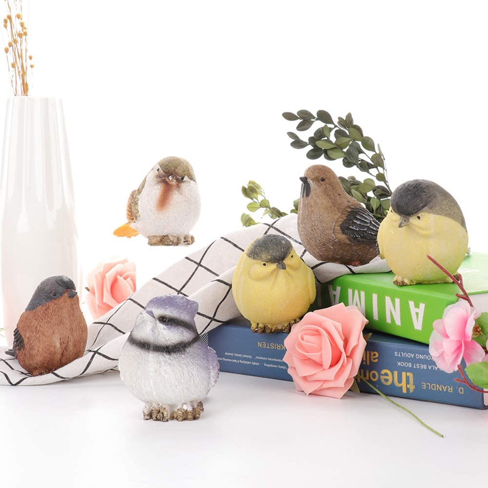 ZAILHWK Garden Statue Birds Decor Gifts,6 Pcs Cute Resin Bird Model for Indoor Outdoor Patio Yard Office and House Decorations