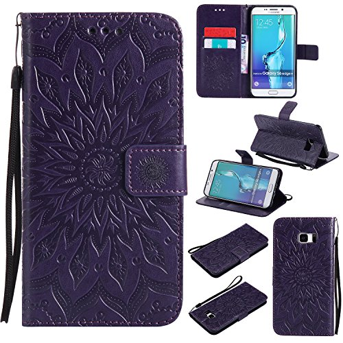Price comparison product image Galaxy S7 Wallet Case,A-slim(TM) Beauty Fashion Sun Pattern Embossed PU Leather Magnetic Flip Cover Card Holders & Hand Strap Wallet Purse Cover Case for Samsung Galaxy S7 - Purple