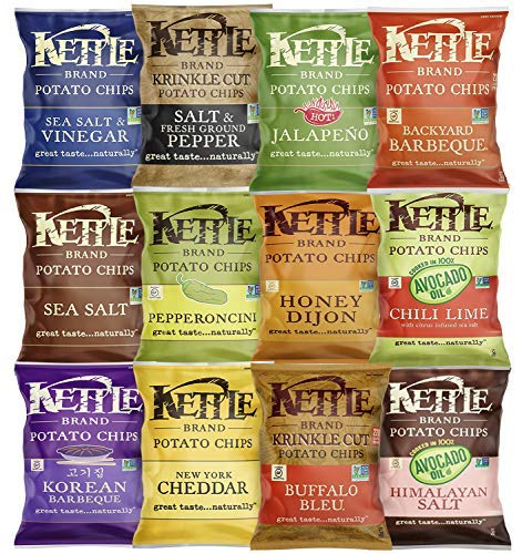 Kettle Brand Potato Chips, Individual Single Serve Bags, Many Different Flavors Sampler Variety Pack (24 Count) by Custom Varietea