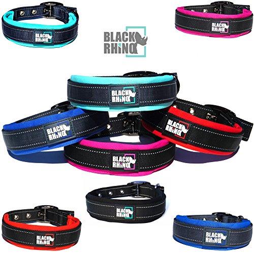 (Black Rhino - The Comfort Collar Ultra Soft Neoprene Padded Dog Collar for All Breeds - Heavy Duty Adjustable Reflective Weatherproof (Large, Aqua/Grey))