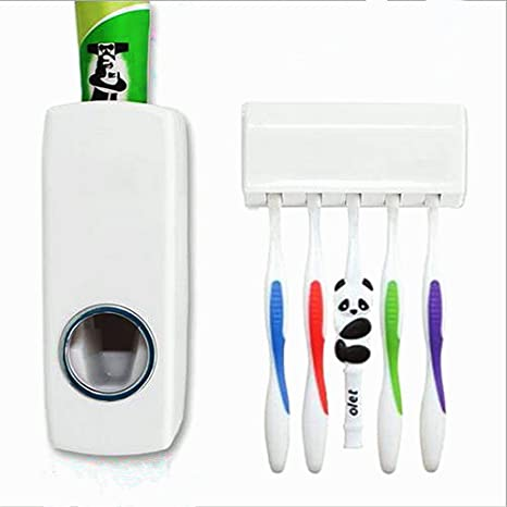 1 juego de soporte para cepillo de dientes automático dispensador de pasta de dientes + 5