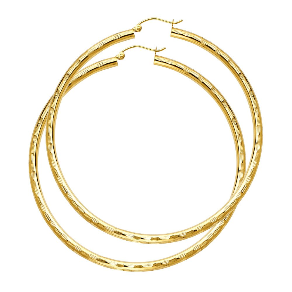 Ioka 14K Yellow Gold 3mm Thickness Diamond Cut Hoop Hinged Earrings