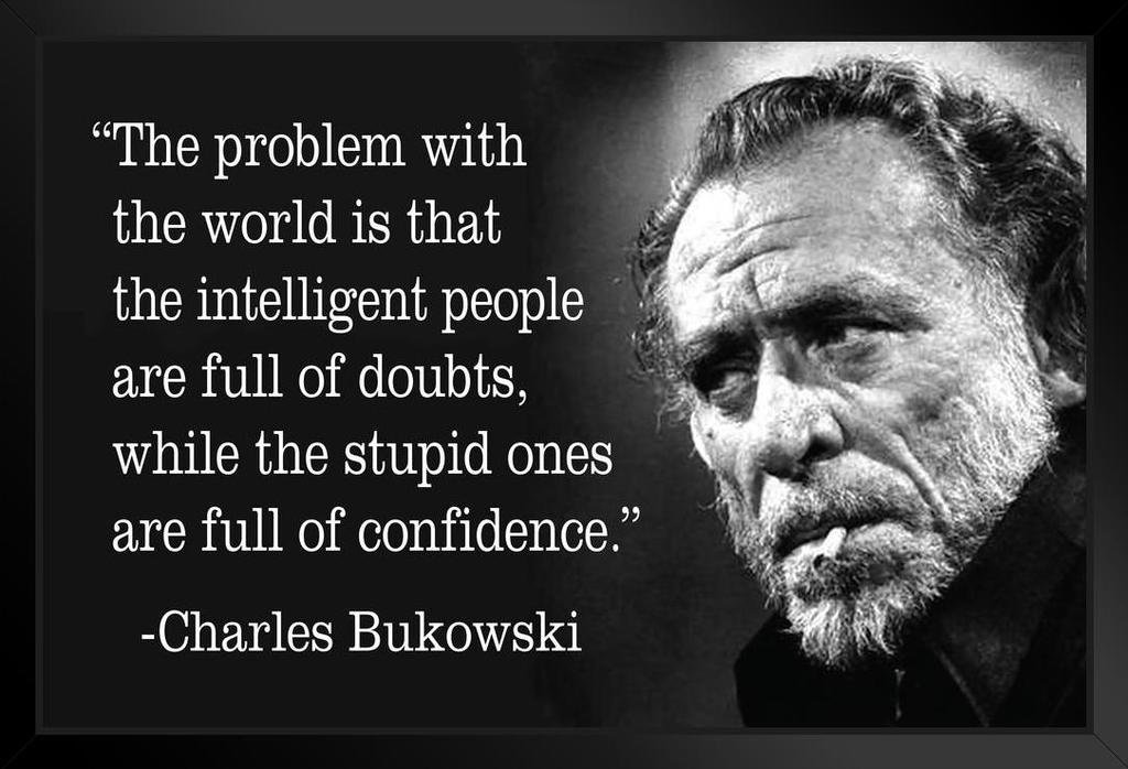 Charles Bukowski The Problem with The World Famous Motivational  Inspirational Quote Black Wood Framed Art Poster 14x20: Amazon.in: Home &  Kitchen