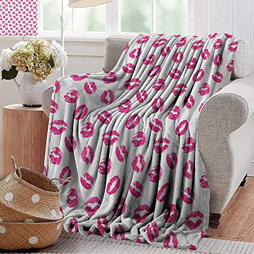 XavieraDoherty Summer Blanket,Kiss,Vibrant Colored Lipstick Kiss Print Smooch Abstract Hot Pink Grungy Look Feminine, Fuchsia White,Lightweight Breathable Flannel Fabric,Machine Washable 60