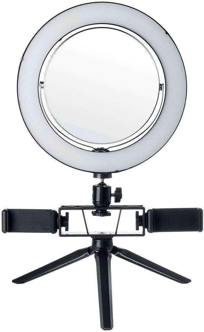 DHUYUN Ring Lights for Phones LED Dimmable Video Ring Light Tripod Stand with Mirror 2 Phone Clip for TIK Tok Makeup Live Streaming 8.7//12.6 Inch White Color : White, Size : 22cm