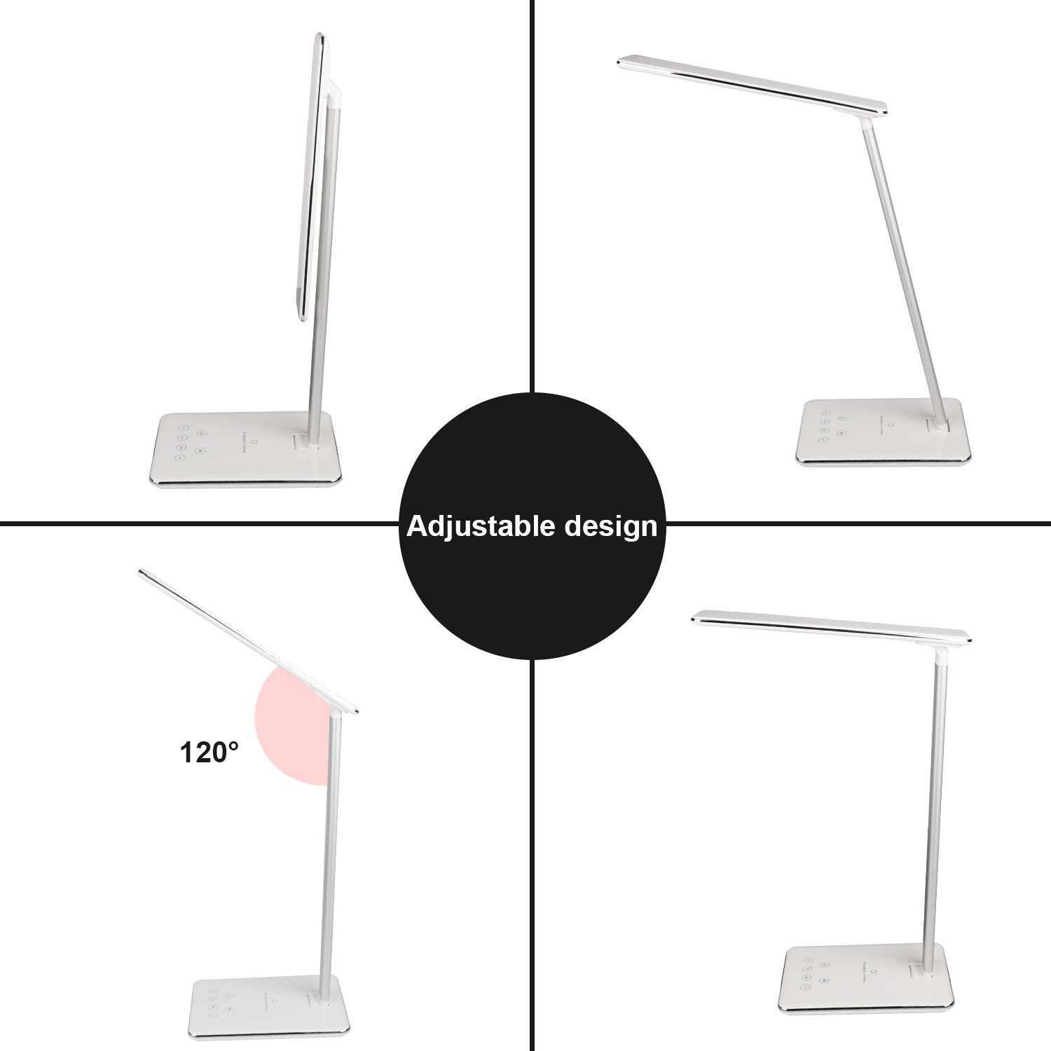 MACASA Led Desk Lamp Dimmable Table Lamp with Qi Wireless Charger for iPhone X / 8 Plus,4 Color Temperatures 6 Adjustable Brightness,Timer Setting,USB Charging Port,Touch Control& Memory Function by MACASA (Image #4)