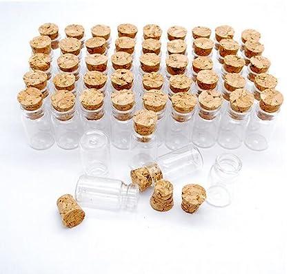 1 ml Kleine Mini de botellas de cristal vacías vasos biberones con corcho Tope Mensaje boda