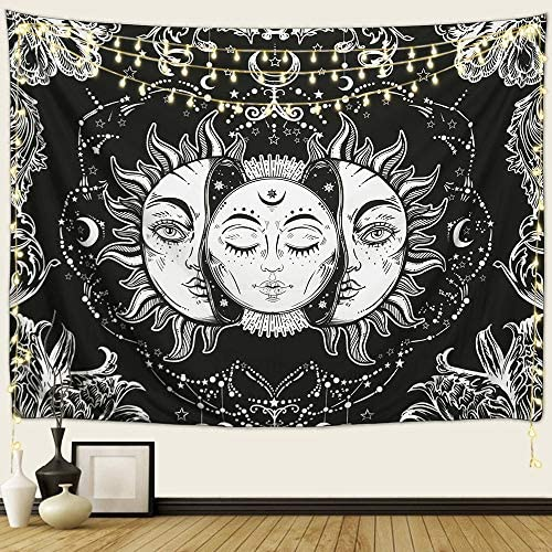 Arfbear Sun and Moon Tapestry, Burning Sun with Stars Psychedelic Popular Mystic Wall Hanging Tapestry Black and White Beach Blanket 90 x 70 in