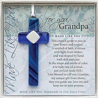 amazon com grandpa handmade glass cross sentimental gift for