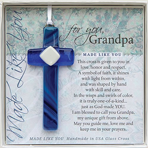Grandpa Handmade Glass Cross: Sentimental Gift for Grandpa