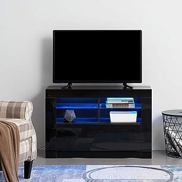 PananaHome - Mueble Moderno para televisor con Luces LED frentes de Alto Brillo para Sala de Estar with LED Lighting Negro: Amazon.es: Electrónica