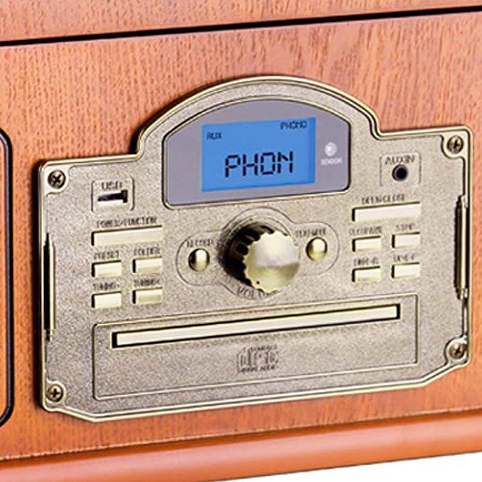 Lauson Tocadiscos Bluetooth con Función Encoding, Lector CD, Casete, Radio FM, USB mp3 33/45/78 RPM Giradiscos de Madera con Altavoces Incorporados, ...