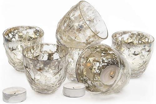Chive – Set of 6 Vie Jolie Small Vintage Mercury Glass Flower Vase, Candle Votive, Decorative Vase for Wedding Centrepieces Home Decor and Place Settings Chantale Petite