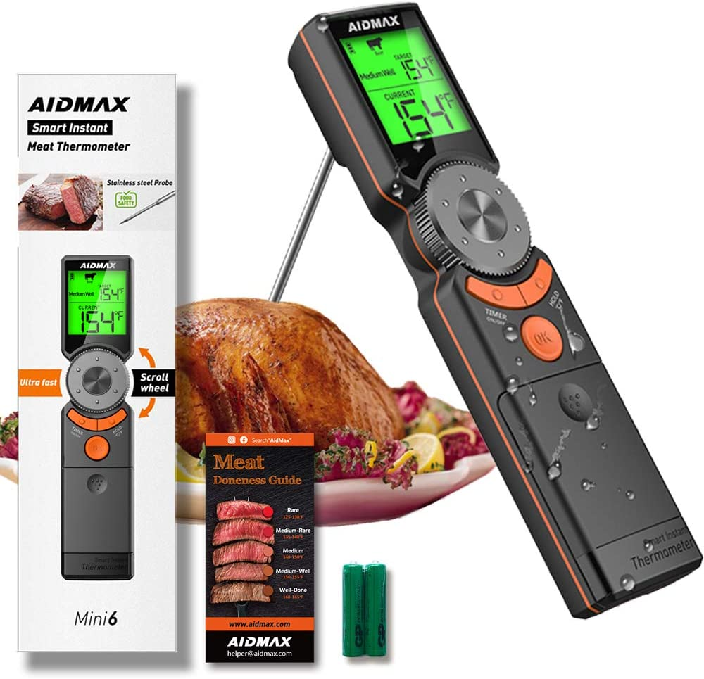 AidMax Mini6 Instant Read Meat Thermometer, Smart Cooking Thermometer Waterproof,Scroll Wheel Preset Food Temperature, Easy to Read Backlit Digital Thermometer for Grill, Kitchen, Smoker, BBQ, Gifts!