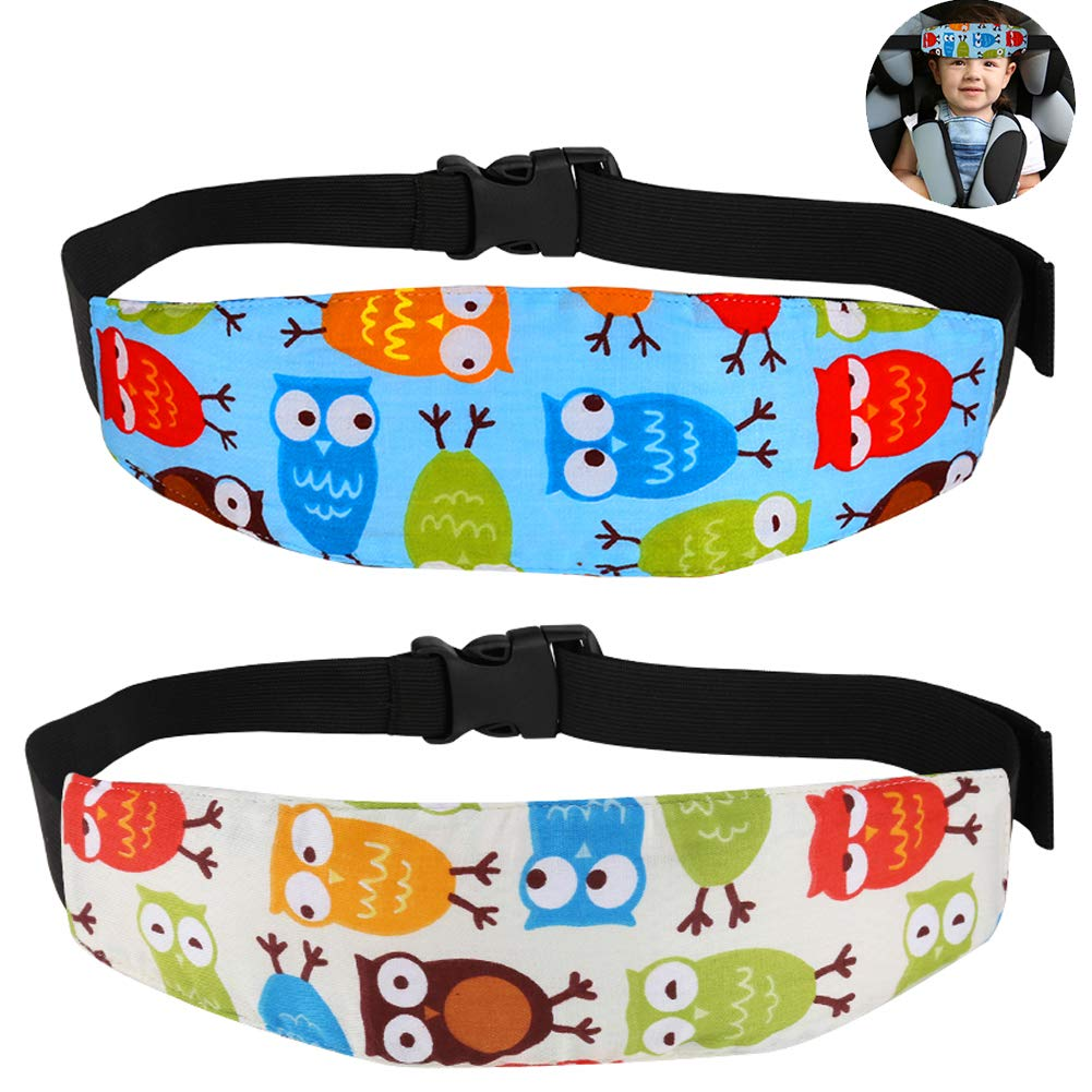 Accmor Baby Car Seat Head Support 2 Pack, Infants Safety Sleep Neck Relief, Stroller Adjustable Sleep Head Holder Belt, Offers Safety and Protection for Kids(OWL)