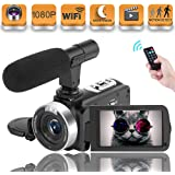 Vlogging Camera Video Camera, Camcorder for Youtube camera with Microphone WiFi Camcorder Full HD 1080P 30FPS 16X Digital Zoom 3.00 Rotatable Touch Screen Support Remote Control Time-Lapse Photography
