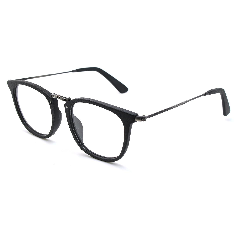 2da3cff877a1 Amazon.com  TIJN Retro Wood Round Eyeglasses Frame Faux Wooden Glasses   Clothing