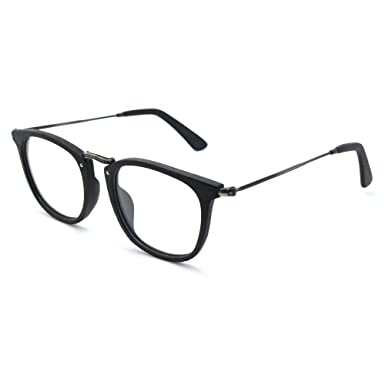 c80c723bd65 Image Unavailable. Image not available for. Color  TIJN Retro Wood Round Eyeglasses  Frame Faux Wooden Glasses