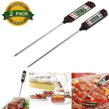 XHSP Termómetro Digital para Carne (2 Unidades, Lectura Instantánea, Pantalla LCD DE 5
