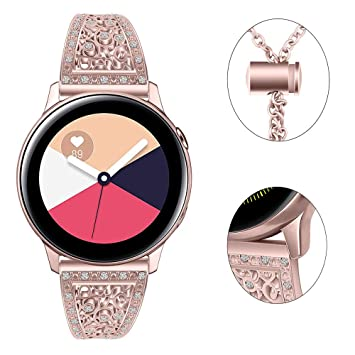 Myada para Samsung Galaxy Watch Correa de 42 mm Correa de 20 mm Pulsera de Diamantes de imitación para Mujer Banda de Pulsera de Metal para Samsung ...