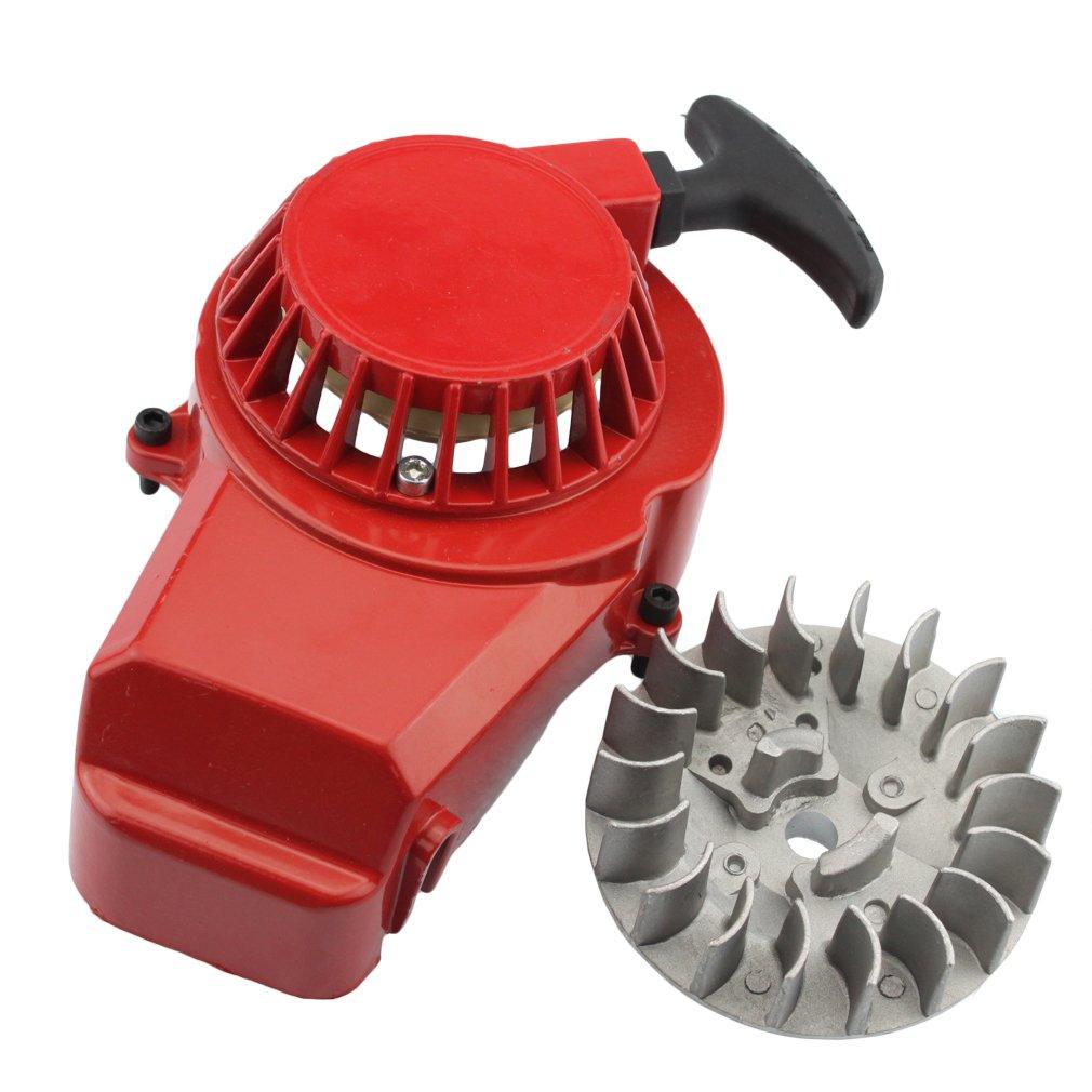 GOOFIT Alloy Pull Start Recoil Starter with Flywheel for 47cc 49cc Pocket Dirt Bike Mini ATV K070-126-1
