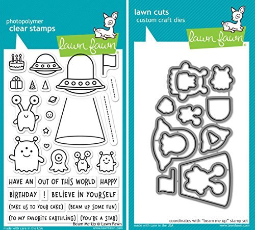 Lawn Fawn Beam Me Up Clear Stamp and Coordinating Die Set - 2 Piece Bundle (LF1597, LF1598) by Lawn Fawn