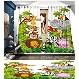 PriceTextile Nursery Blackout Window Curtain Cartoon Style Zoo Animals Safari Jungle Mascots Collection Tropical Forest Wildlife Customized Curtains Multicolor