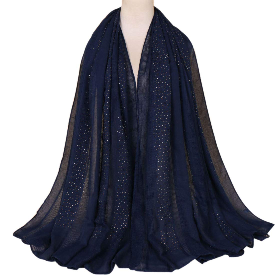 Women's Winter Warm Scarfs Long Soft Cotton Fashion Scarves Lightweight Shawls and Wraps for Evening Wedding Scarf Solid Colors Navy Blue