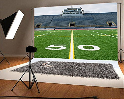 Laeacco 10x6.5 Vinyl Backdrop Fifty Yard Line with Bleachers Photography Background American Football Field with Empty Bleachers Stands Background Yellow and White Line Sportsman Photo Studio Prop Portable Bleacher System