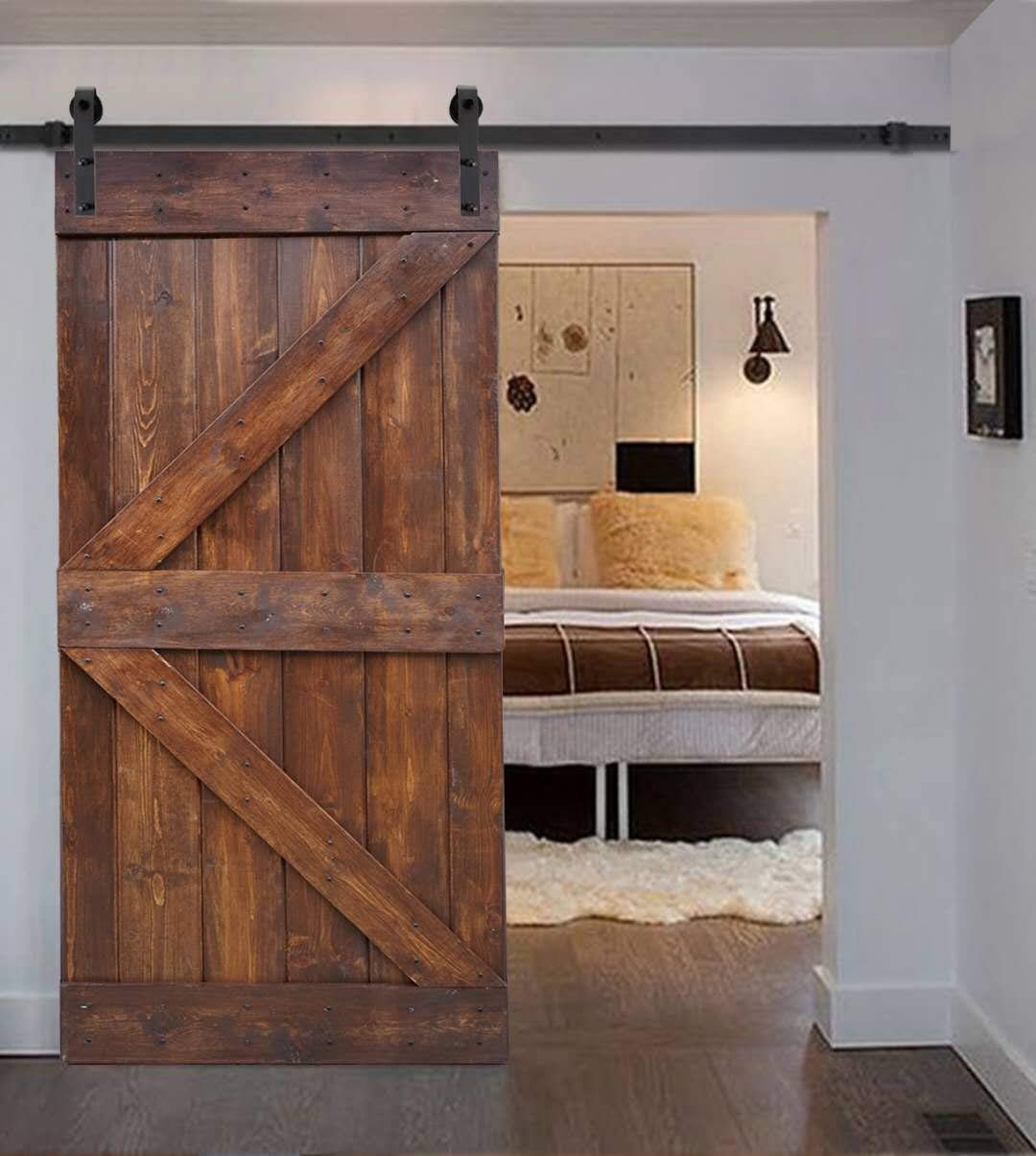 WELLHOME 6.6 FT Sliding Hardware Kit+ 36inX84in K Series DIY Solid Interior Barn Knotty Wood Painted Door (Dark walnut) by WELLHOME (Image #2)