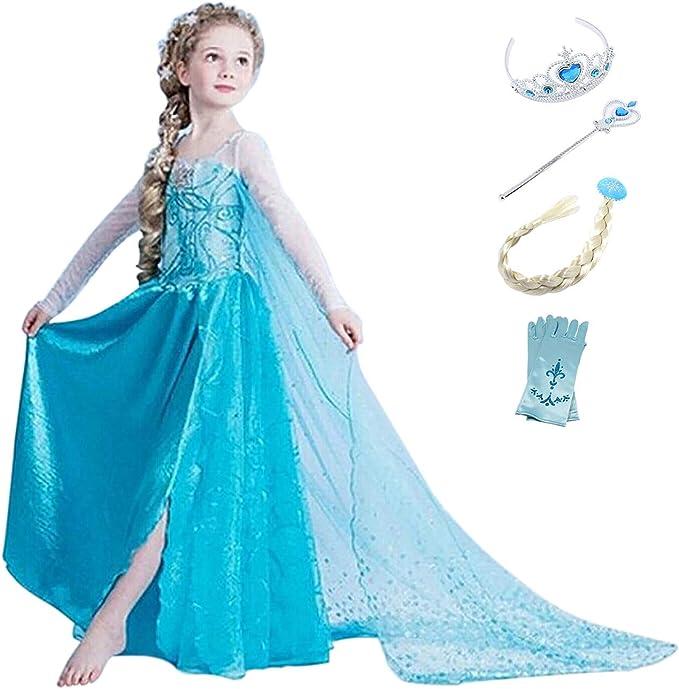 YOSICIL Disfraz de Princesa Elsa Niñas Vestido de Princesa Elsa ...