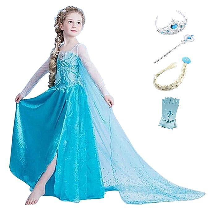 YOSICIL Disfraz de Princesa Elsa Niñas Vestido de Princesa ...