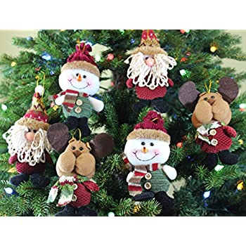 festive season plush hanging christmas ornament sets in country colors santasnowmanreindeer - Christmas Decoration Sets