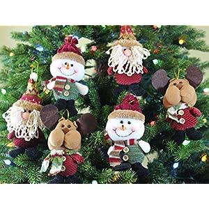 6pk Plush Christmas Ornament Sets (santa/snowman/reindeer)