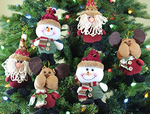 Festive Season Plush Hanging Christmas Ornament Sets in Country Colors (santa/snowman/reindeer, 6pk)