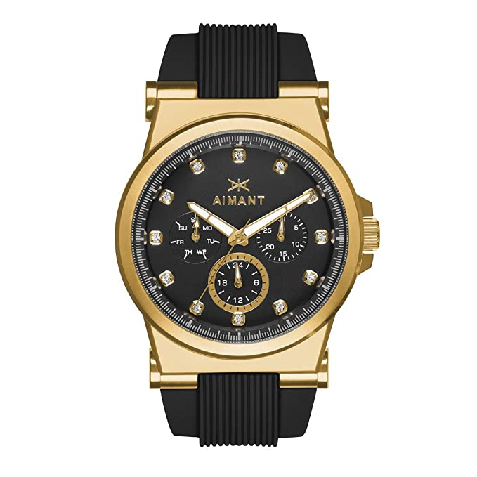 Amazon.com: AIMANT Womens Watch Ibiza Gold with Black Silicone Strap LIB-190SI1-1G: Aimant: Watches