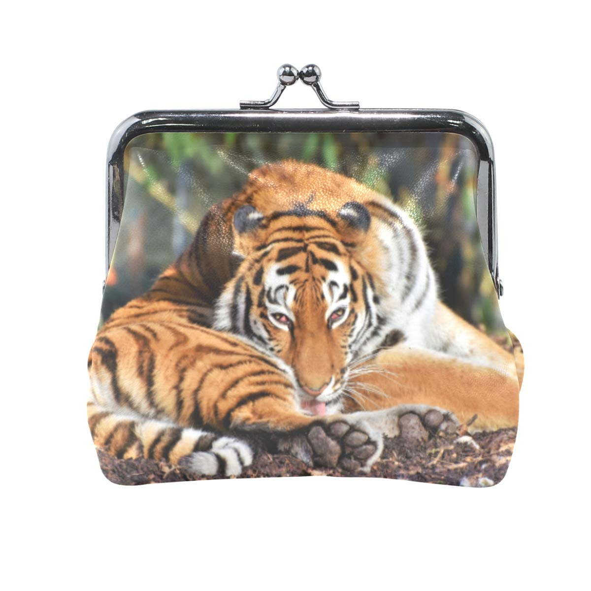CLveg Coin Purse Card Package Coin Leather for Women Printing Series Tiger