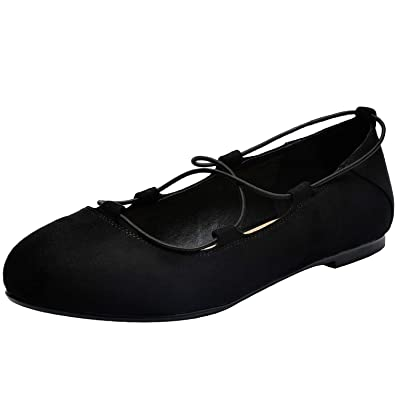 f4445a0df67 Women s Wide Width Flat Shoes - Comfortable Lace up Round Toe Ballet Flats.  (181007