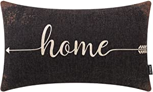 TRENDIN Farmhouse Pillow Cover 12x20 Inch Rusted Black Home Quote for Farmhouse Decor Lumbar Pillowcase with Saying Housewarming Gift Cotton Linen PL498TR
